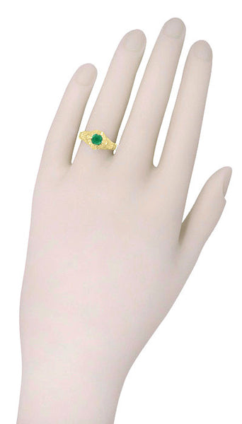 Art Deco Emerald Engraved Filigree Engagement  Ring in 14 Karat Yellow Gold - Item: R410Y - Image: 3