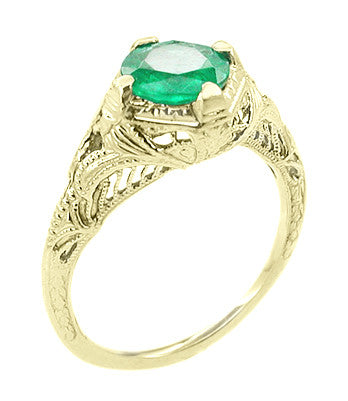 Art Deco Emerald Engraved Filigree Engagement  Ring in 14 Karat Yellow Gold - Item: R410Y - Image: 1