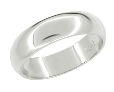Women's 5 mm Wide Wedding Band Ring in 14 Karat White Gold