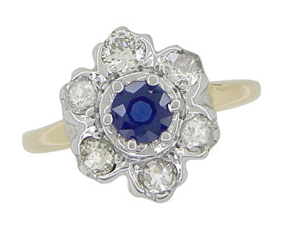 Mid Century Antique Floral Diamond and Blue Sapphire Ring in 14 Karat White and Yellow Gold - Item: R415 - Image: 2