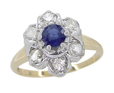 Mid Century Antique Floral Diamond and Blue Sapphire Ring in 14 Karat White and Yellow Gold