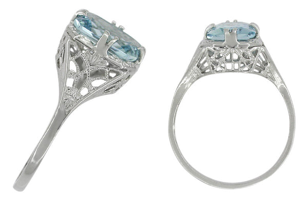 Art Deco Filigree Aquamarine Ring in Platinum - Item: R418 - Image: 1