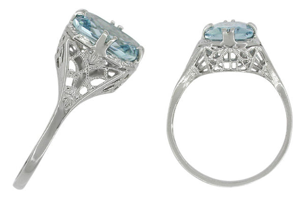 Art Deco Filigree Aquamarine Engagement Ring in 14 Karat White Gold - Item: R418W - Image: 1