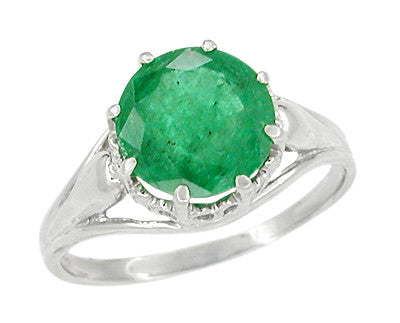 Regal Crown Emerald Engagement Ring in Platinum