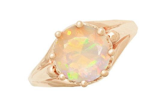 Vintage Style Regal Crown Opal Engagement Ring in 14 Karat Rose Gold - Item: R419Ro - Image: 3
