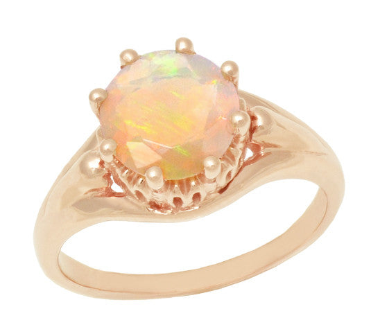 Vintage Style Regal Crown Opal Engagement Ring in 14 Karat Rose Gold