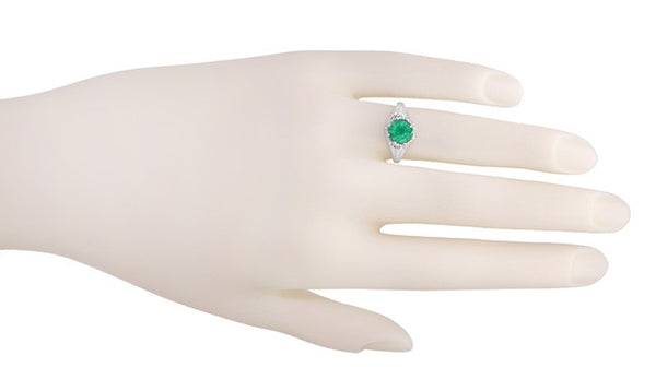 Regal Emerald Crown Engagement Ring in 14 Karat White Gold - Item: R419W - Image: 2