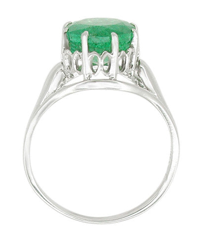 Regal Emerald Crown Engagement Ring in 14 Karat White Gold - Item: R419W - Image: 1