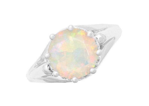 Royal Crown Opal Engagement Ring in 14K White Gold - Item: R419WO - Image: 3