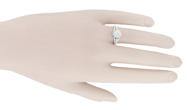 Royal Crown Opal Engagement Ring in 14K White Gold - Item: R419WO - Image: 4