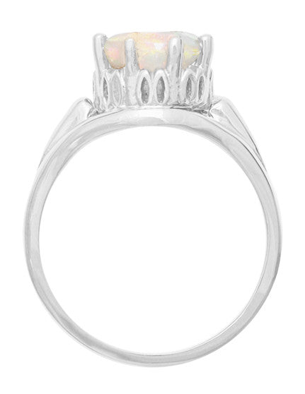 Royal Crown Opal Engagement Ring in 14K White Gold - Item: R419WO - Image: 1
