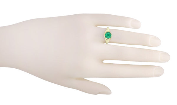 Vintage Style Regal Crown Emerald Engagement Ring in 14 Karat Yellow Gold - Item: R419Y - Image: 2