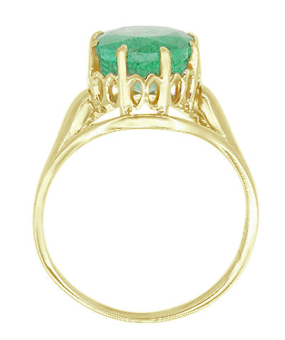 Vintage Style Regal Crown Emerald Engagement Ring in 14 Karat Yellow Gold - Item: R419Y - Image: 1