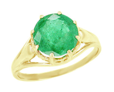 Vintage Style Regal Crown Emerald Engagement Ring in 14 Karat Yellow Gold
