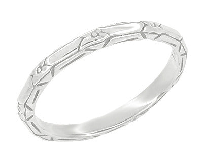 Vintage Inspired Art Deco Floral Geometric Carved Wedding Band in Platinum - SIze 6.5