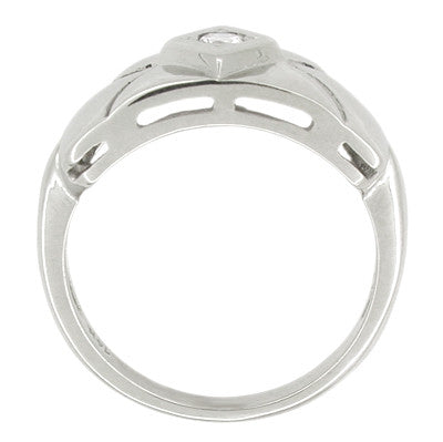 Wide Carved Vintage Retro Moderne Diamond Ring in 14K White Gold - Item: R424 - Image: 1