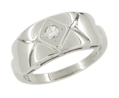 Wide Carved Vintage Retro Moderne Diamond Ring in 14K White Gold