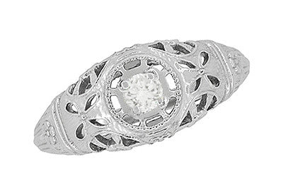 Art Deco Open Flowers Filigree Diamond Engagement Ring in 14 Karat White Gold | Low Profile - Item: R428 - Image: 2