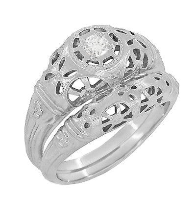 Art Deco Open Flowers Filigree Diamond Engagement Ring in 14 Karat White Gold | Low Profile - Item: R428 - Image: 3