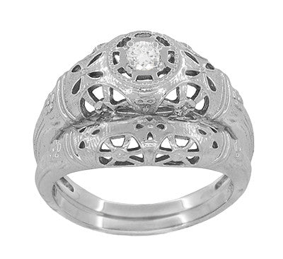 Art Deco Open Flowers Filigree Diamond Engagement Ring in 14 Karat White Gold | Low Profile - Item: R428 - Image: 4