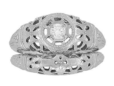 Art Deco Open Flowers Filigree Diamond Engagement Ring in 14 Karat White Gold | Low Profile - Item: R428 - Image: 5