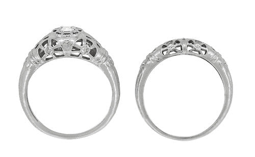 Art Deco Open Flowers Filigree Diamond Engagement Ring in 14 Karat White Gold | Low Profile - Item: R428 - Image: 6