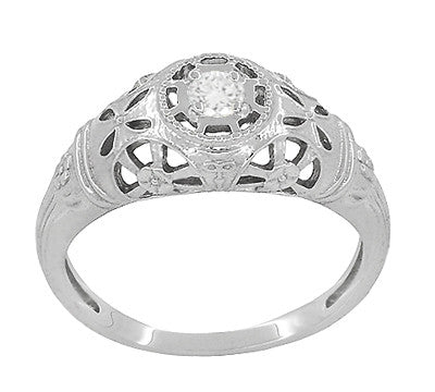 Platinum Art Deco Filigree Diamond Engagement Ring - Item: R428P - Image: 2