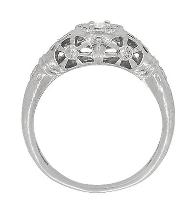 Platinum Art Deco Filigree Diamond Engagement Ring - Item: R428P - Image: 4