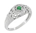 Art Deco Filigree Emerald Ring in Platinum