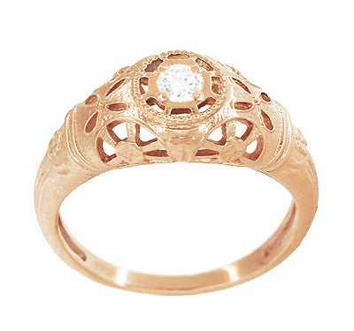 Art Deco Low Dome Diamond Filigree Engagement Ring in 14 Karat Rose Gold - Item: R428R - Image: 2