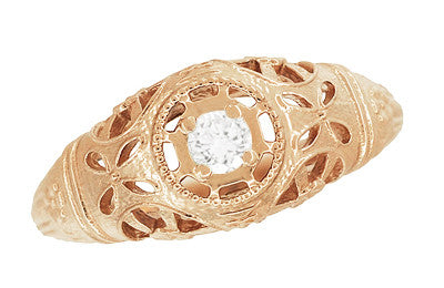 Art Deco Low Dome Diamond Filigree Engagement Ring in 14 Karat Rose Gold - Item: R428R - Image: 3