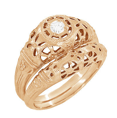 Art Deco Low Dome Diamond Filigree Engagement Ring in 14 Karat Rose Gold - Item: R428R - Image: 4