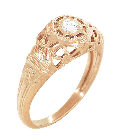 Art Deco Low Dome Diamond Filigree Engagement Ring in 14 Karat Rose Gold - Item: R428R - Image: 1