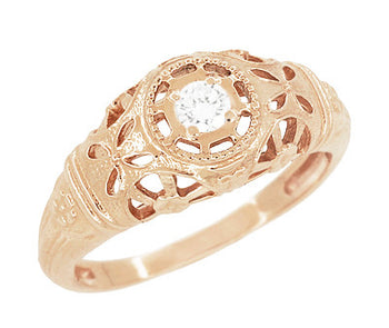 Art Deco Filigree White Sapphire Ring in 14 Karat Rose Gold