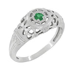 Art Deco Filigree Emerald Ring in 14 Karat White Gold