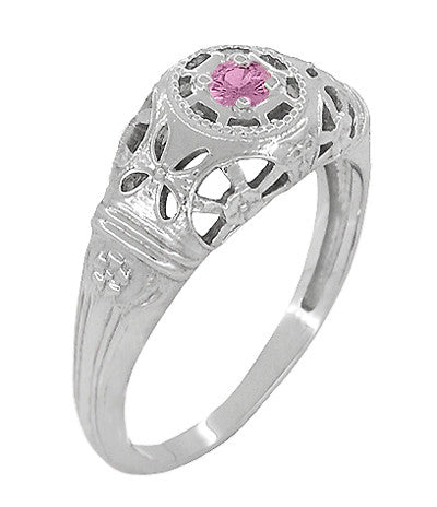 Art Deco Filigree Pink Sapphire Ring in 14 Karat White Gold - Item: R428WPS - Image: 2