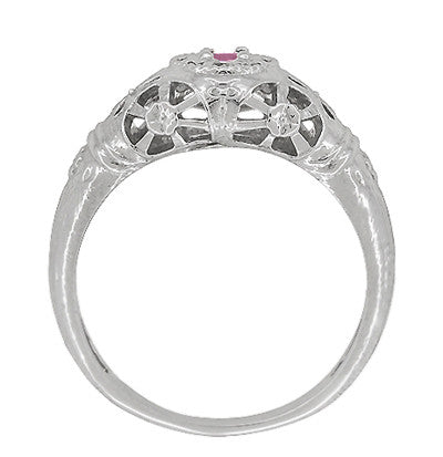 Art Deco Filigree Pink Sapphire Ring in 14 Karat White Gold - Item: R428WPS - Image: 3