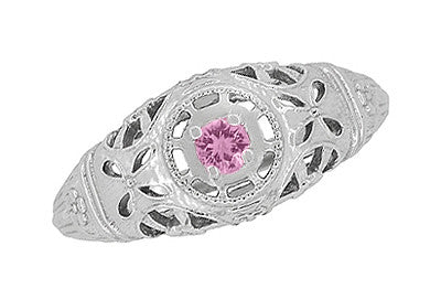 Art Deco Filigree Pink Sapphire Ring in 14 Karat White Gold - Item: R428WPS - Image: 4