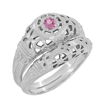 Art Deco Filigree Pink Sapphire Ring in 14 Karat White Gold - Item: R428WPS - Image: 5