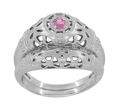 Art Deco Filigree Pink Sapphire Ring in 14 Karat White Gold - Item: R428WPS - Image: 6