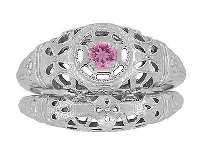 Art Deco Filigree Pink Sapphire Ring in 14 Karat White Gold - Item: R428WPS - Image: 7