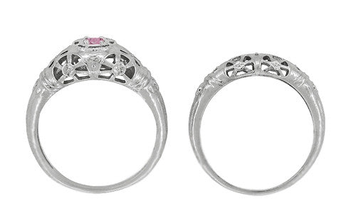 Art Deco Filigree Pink Sapphire Ring in 14 Karat White Gold - Item: R428WPS - Image: 8