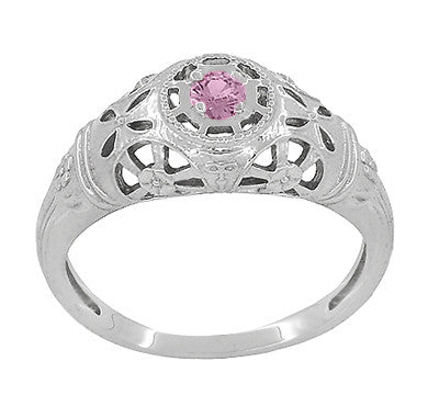 Art Deco Filigree Pink Sapphire Ring in 14 Karat White Gold - Item: R428WPS - Image: 1
