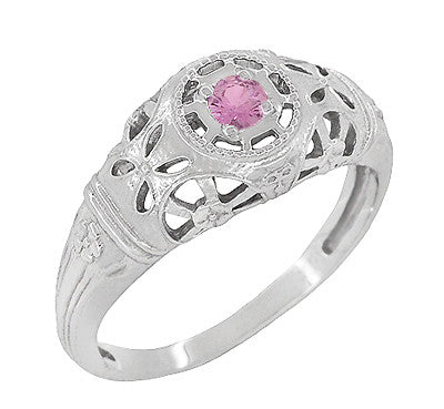Art Deco Filigree Pink Sapphire Ring in 14 Karat White Gold