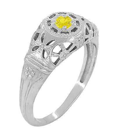 Art Deco Filigree Yellow Sapphire Ring in 14 Karat White Gold - Item: R428WYES - Image: 2