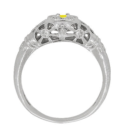 Art Deco Filigree Yellow Sapphire Ring in 14 Karat White Gold - Item: R428WYES - Image: 3