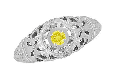 Art Deco Filigree Yellow Sapphire Ring in 14 Karat White Gold - Item: R428WYES - Image: 4