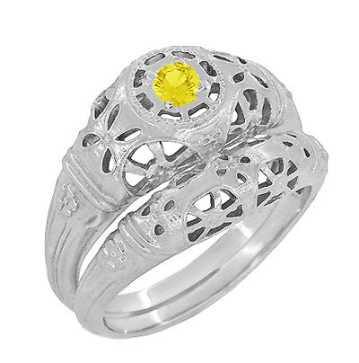 Art Deco Filigree Yellow Sapphire Ring in 14 Karat White Gold - Item: R428WYES - Image: 5