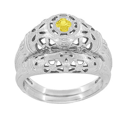 Art Deco Filigree Yellow Sapphire Ring in 14 Karat White Gold - Item: R428WYES - Image: 6