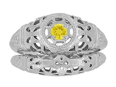 Art Deco Filigree Yellow Sapphire Ring in 14 Karat White Gold - Item: R428WYES - Image: 7